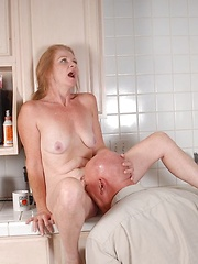 Blonde granny gets fucked by bald older man