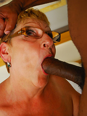Blonde short-haired mom gets fucked by black fucker