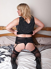 Horny blonde mature slut playing all alone