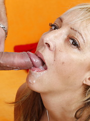 Toysucking and cockfucking blonde mature slut