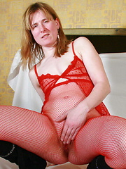 mature lady in red lingerie