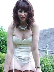 Naughty housewife from the UK gets horny in her garden