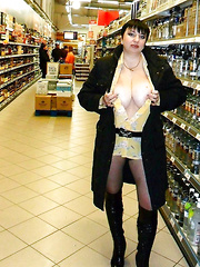 Mature women shopping with exposed tits