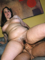 Plump, hairy, housewife gets bent over and drilled!