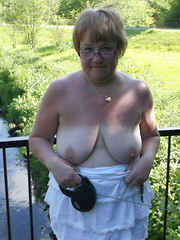 Older dames showing breasts or pussy