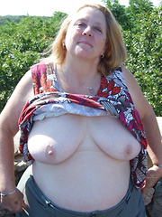 Fat mature and granny flashers in public places