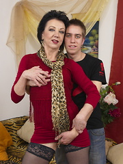 Naughty mature lady foing the guy next door