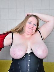Big breasted British mature BBW getting naughty